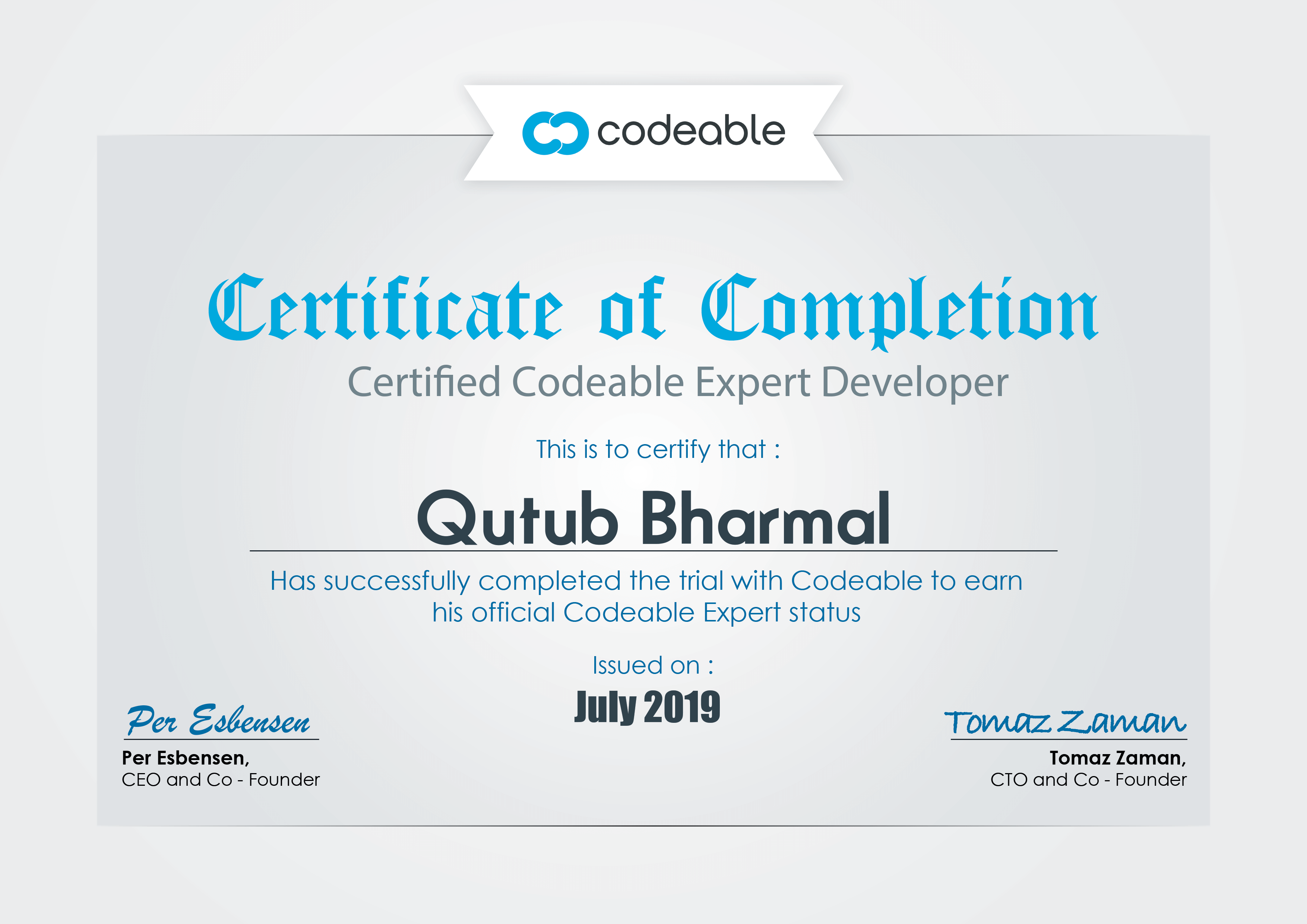 Codeable Certificate of Qutub Bharmal